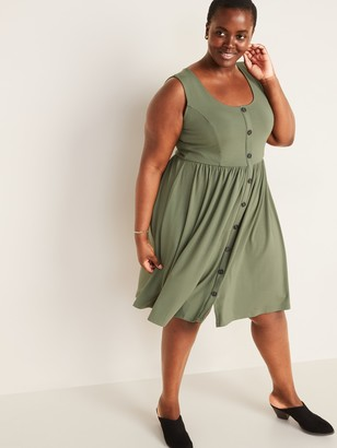 Old Navy Fit & Flare Button-Front Plus-Size Sleeveless Dress