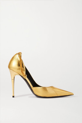 Tom Ford Metallic Python Pumps - Gold