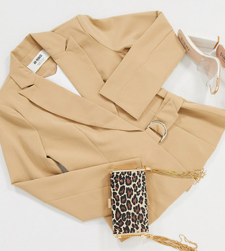 4th + Reckless Petite suit blazer with side buckle in camel