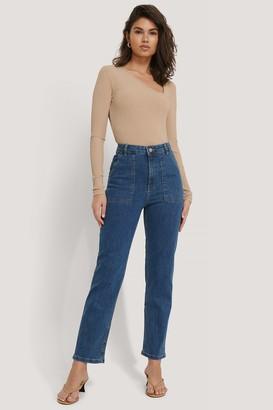 NA-KD Big Pocket Straight Jeans