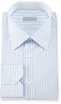 Stefano Ricci Fancy-Striped Woven Dress Shirt, Blue