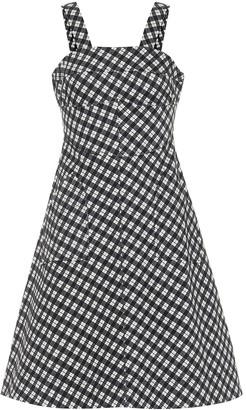 ALEXACHUNG Checked stretch cotton dress