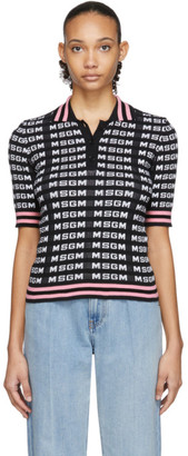 MSGM Black All Over Logo Polo