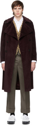 Neil Barrett Burgundy Corduroy Trench Coat