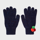 Paul Smith Women's Navy Flecked Wool Gloves With Pom-Pom Detail