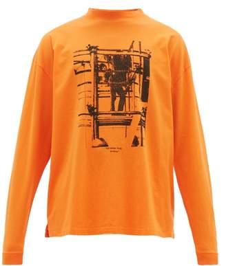Off-White Off White Scaffolding-print Cotton Long-sleeved T-shirt - Mens - Orange Multi