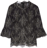 Oscar de la Renta Chantilly Lace Top - Black