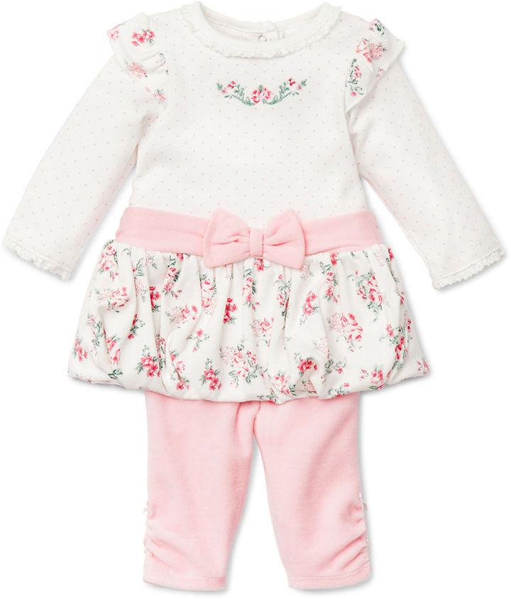 Little Me Newborn Girls 0-9 Months Two-Piece Rose Printed Dress & Leggings Set