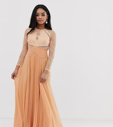 Asos DESIGN Petite long sleeve lace paneled pleat maxi dress