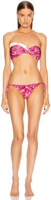 Adriana Degreas Flower Bloom Ruffled Strapless Bikini in Pink | FWRD