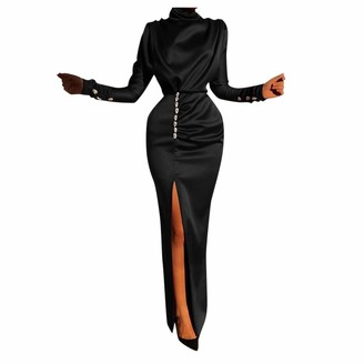 Younthone Ladies Evening Party Dress Turtleneck Long Sleeve Retro Dress Water Drop Diamond High Waist Split Dress Cocktail Ball Gown Nightclub Party Long Dress Sexy Slim Fit Hip Pencil Skirt Black