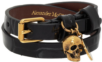 Alexander McQueen Black Croc Double Wrap Bracelet