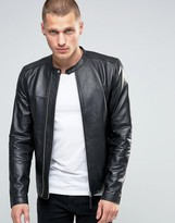 Pretty Green Leather Biker Jacket In Slim Fit Black