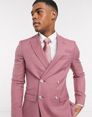 Topman skinny double breasted suit jacket in pink