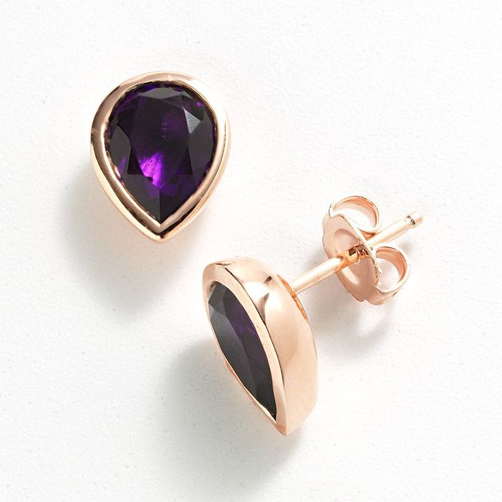 Swarovski Simply vera vera wang 14k rose gold over silver teardrop stud earrings - made with elements
