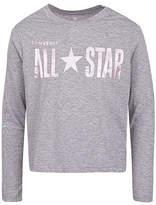 Converse Big Kid Girls Crew Neck Long Sleeve Graphic T-Shirt