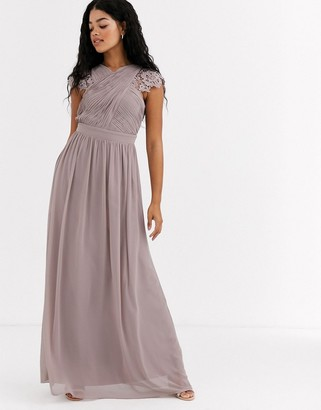 Little Mistress lace insert drape maxi dress in oyster-Brown