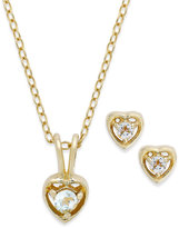 Macy's Children's 18k Gold over Sterling Silver Necklace and Earrings Set, March Birthstone Aqua Topaz Heart Pendant and Stud Earrings Set (1/5 ct. t.w.)