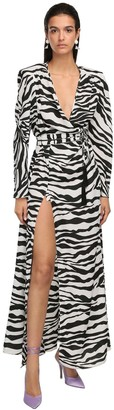 ATTICO The Zebra Print Wrap Long Dress With Slits