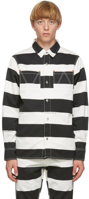 Vyner Articles Black and White Stripe Print Worker Shirt