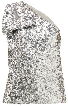 Halpern Sequinned One-shoulder Top - Silver