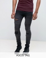 Asos TALL Super Skinny Jeans With Abrasions In Biker Style