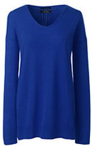 Lands' End Women's Petite Merino V-neck Tunic Sweater-Rich Sapphire
