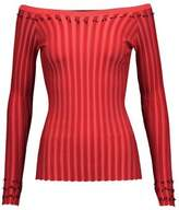 Altuzarra Tatum Off-The-Shoulder Fringed Rib-Knit Sweater