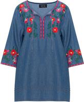 Vincenzo Allocca Plus Size Embroidered denim blouse