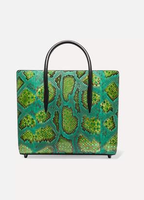Christian Louboutin Paloma Medium Metallic Python And Leather Tote - Green
