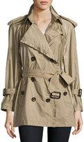 Burberry Ombersley Packaway Ruffled Rain Trench Coat