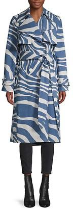 Roberto Cavalli Caban Zebra-Print Trench Coat
