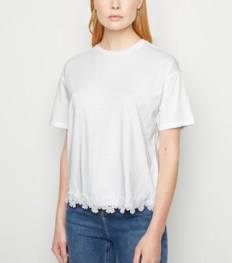 New Look Floral Crochet Hem T-Shirt