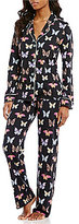 PJ Salvage Butterfly-Print Jersey Pajamas & Sleep Mask
