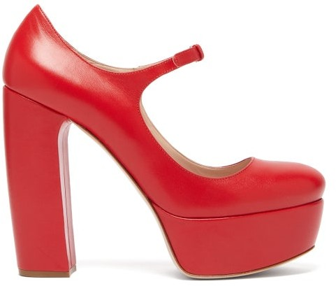 Miu Miu Leather Platform Mary Jane Pumps - Womens - Red