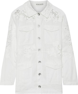 Alice + Olivia Charline Guipure Lace-paneled Embroidered Twill Jacket