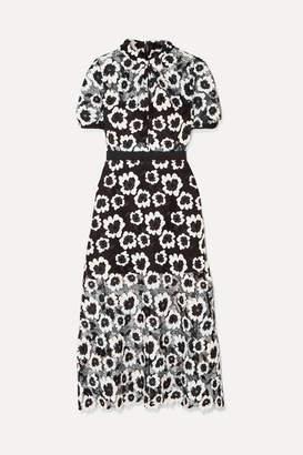 Self-Portrait Floral Guipure Lace Midi Dress - Black