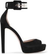 Jimmy Choo Mayner Pvc-trimmed Suede Platform Sandals - Black