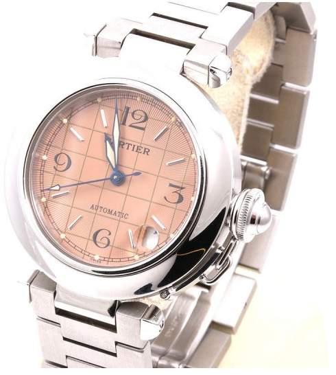 Cartier Pasha de 2324 Stainless Steel w/ Salmon Grid Face 36mm Unisex Watch