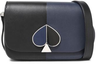 Kate Spade Nicola Logo-embellished Two-tone Leather Shoulder Bag