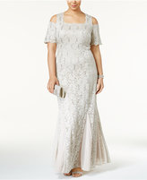 R & M Richards Plus Size Sequined Lace Cold-Shoulder Gown