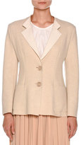 Agnona Couture Cashmere Two-Button Jacket, Oatmeal White