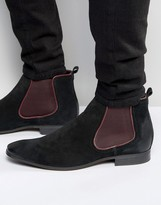 Asos Chelsea Boots In Black Suede With Burgundy Details
