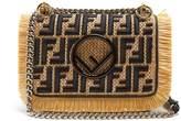 Fendi Kan I logo-embroidered woven raffia cross-body bag