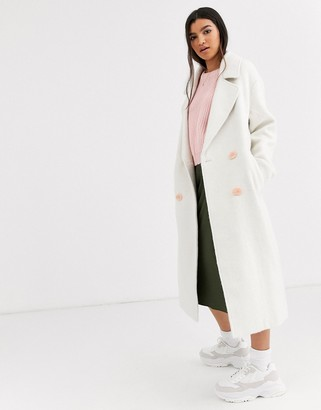 Asos DESIGN brushed statement button coat with hero buttons in white