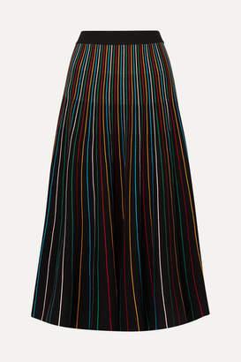 RED Valentino Striped Cotton-blend Midi Skirt - Black
