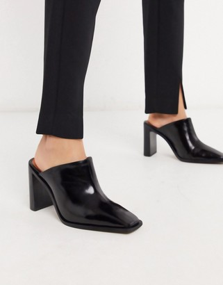 CHIO heeled mules with square toes in black leather