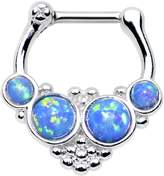 """Body Candy Stainless Steel Barbell Brilliant Synthetic Opal Hoop Septum Clicker 16 Gauge 1/4"""""""