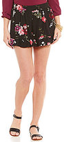 Living Doll Floral-Print High Rise Ruffle Soft Shorts