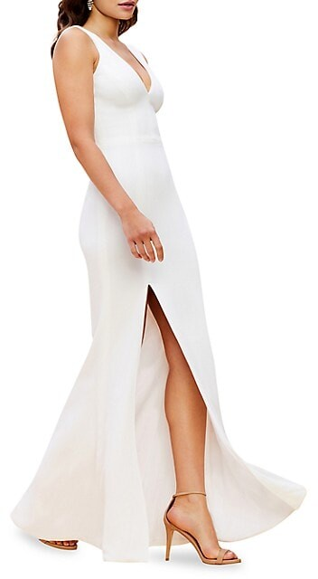 Thumbnail for your product : Dress the Population Sandra Crepe Slit Gown
